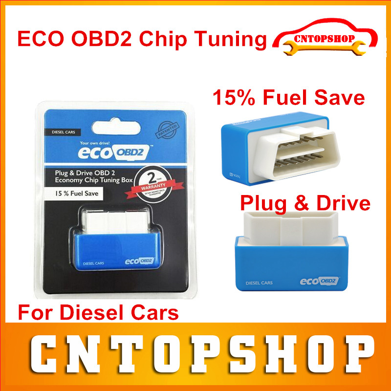 Top Selling Blue EcoOBD2 Diesel Car Chip Tuning Box for Diesel Cars Plug & Drive Eco OBD2 Chip Tuning 15% Fuel Save High Quality(China (Mainland))