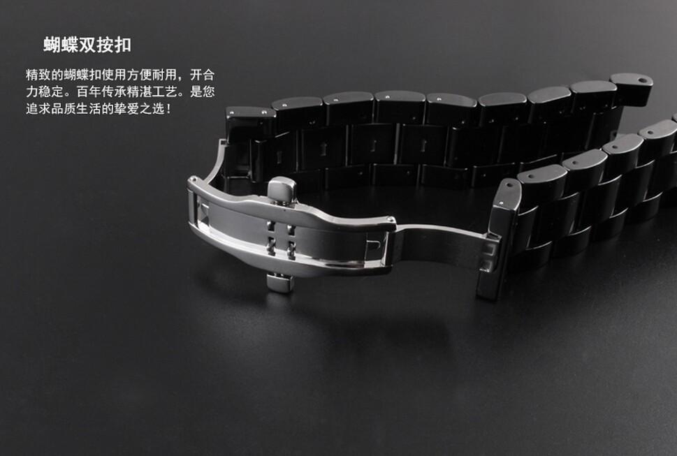 Часы полоса 18 мм 20 мм черный керамический группа пояс браслет