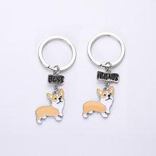 Flyingfores mini Bonito Melhor Amigo Anel Chave cão Corgi anel Jóias de Luxo Presente Mulheres Jóias Chaveiro Charme Saco Animais de Metal PARA ANIMAIS de ESTIMAÇÃO(China)