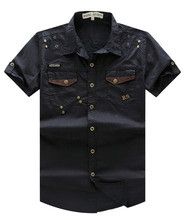 2016 New Arrive Mens Cargo Shirt  Men Casual Shirt Solid Short Sleeve Shirts Work Shirt with Wash Standard US Size 100% Cotton(China (Mainland))