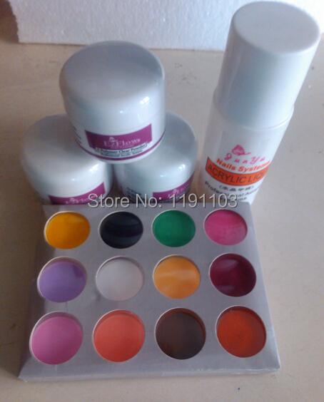 tools Free Shipping 5 pc nail white Acrylic Powder Liquid Art Tips UV gel glitter dust(China (Mainland))