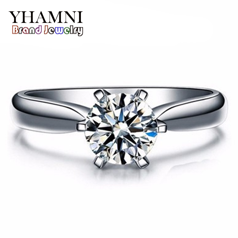 Big 95% OFF!!! New Fashion White Gold Filled Wedding Rings For Women Brand Luxury 1 Carat CZ Diamond Gold Rings Jewelry YH021(China (Mainland))