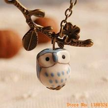 Lovely Ceramic Twig Owl necklaces & pendants for Women 2015 Handmade colar vintage Jewelry Girl Accessories(China (Mainland))