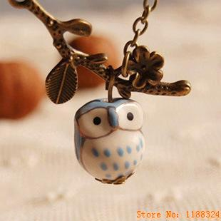Lovely Ceramic Twig Owl necklaces pendants for Women 2015 Handmade colar vintage Jewelry Girl Accessories