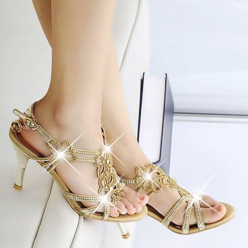 Rhinestone high-heeled elegant sandals female shoes