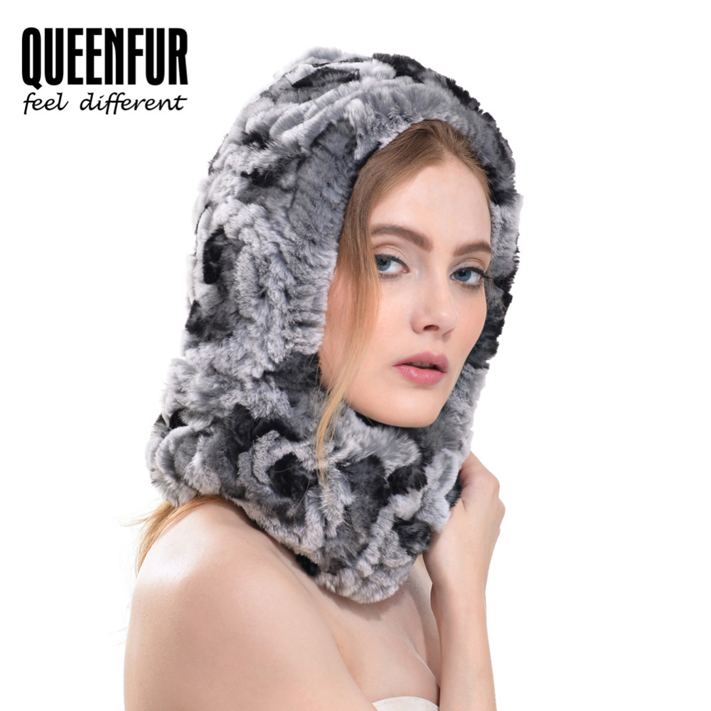 QUEENFUR Women's A Head Scarf Real Knitted Rex Rabbit Fur Ring 2016 Winter Warm Fur Scarves Female Genuine Fur Scarves(China (Mainland))