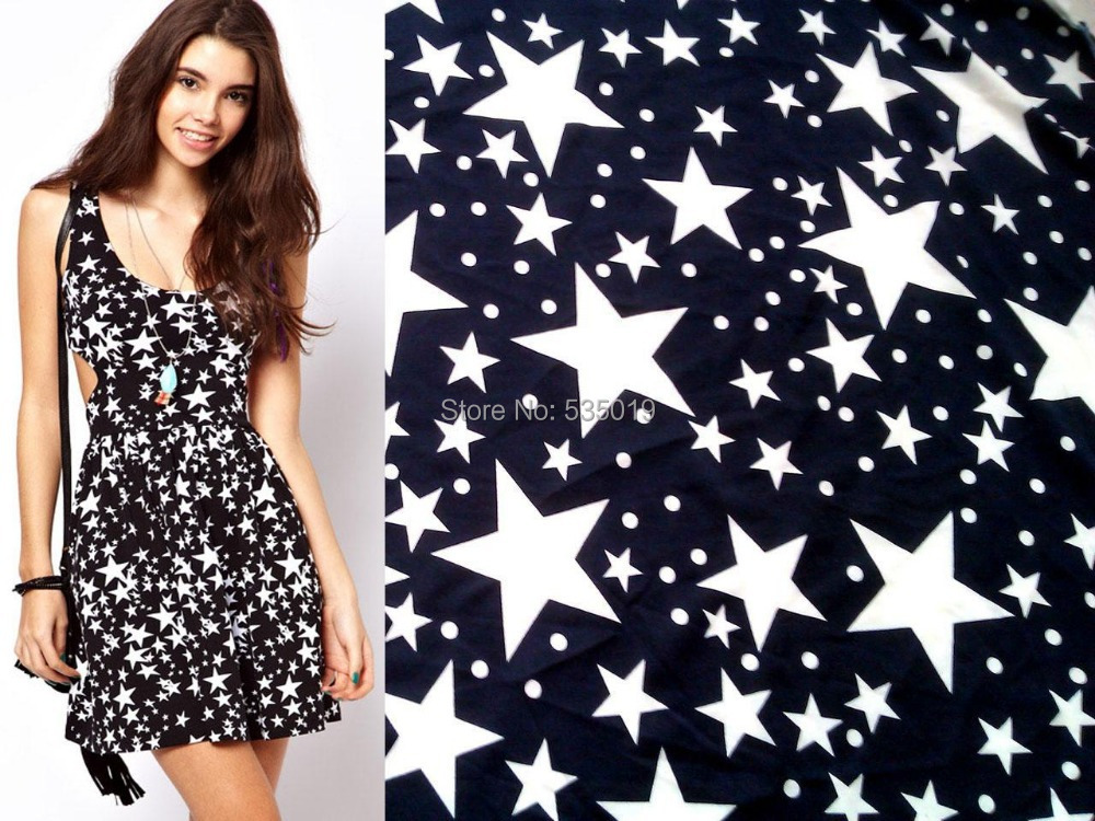 stars prints textile curtain mulberry Spot Roman cloth fabric royalblue stretch printed star knitted fabric Cotton Fabric 165cm(China (Mainland))