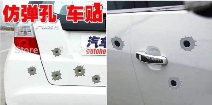 12x NEW Funny Simulation Gun Bullet Hole Stickers Car Stickers fit for Porsche 911 918 Cayenne Cayman Macan series Car Styling(China (Mainland))