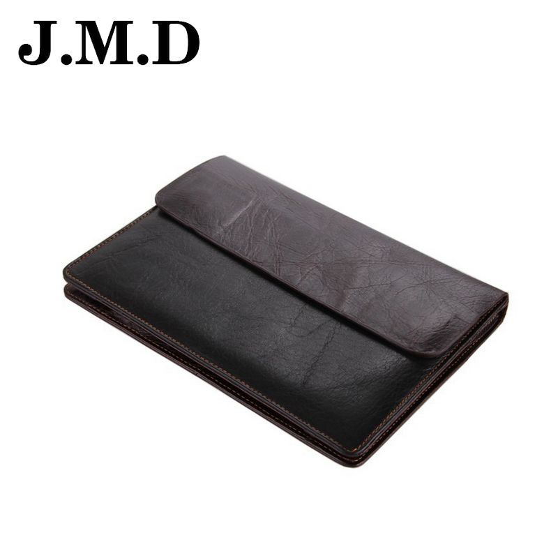 JMD 2016 New Arrival Genuine Leather Men Clutches Bags Vintage Handbags Phone Ipad Bags Coin Purse Wallet Men Long Wallets JD065(China (Mainland))