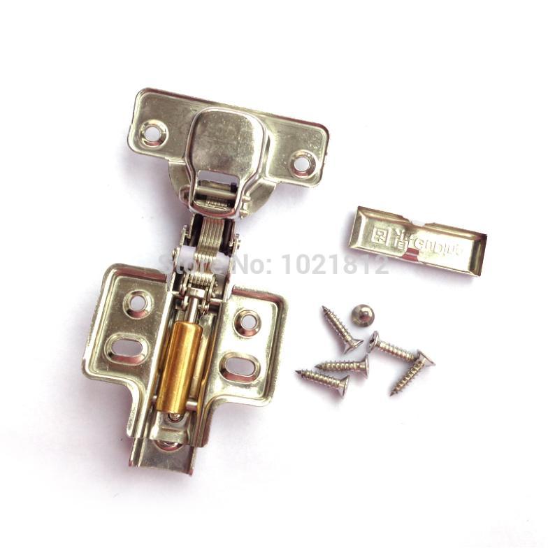 1 Pair Full overlay Hydraulic Cabinet Hinge 304 Stainless Steel Hinge Soft Close Brass Buffering Fixed Base(China (Mainland))