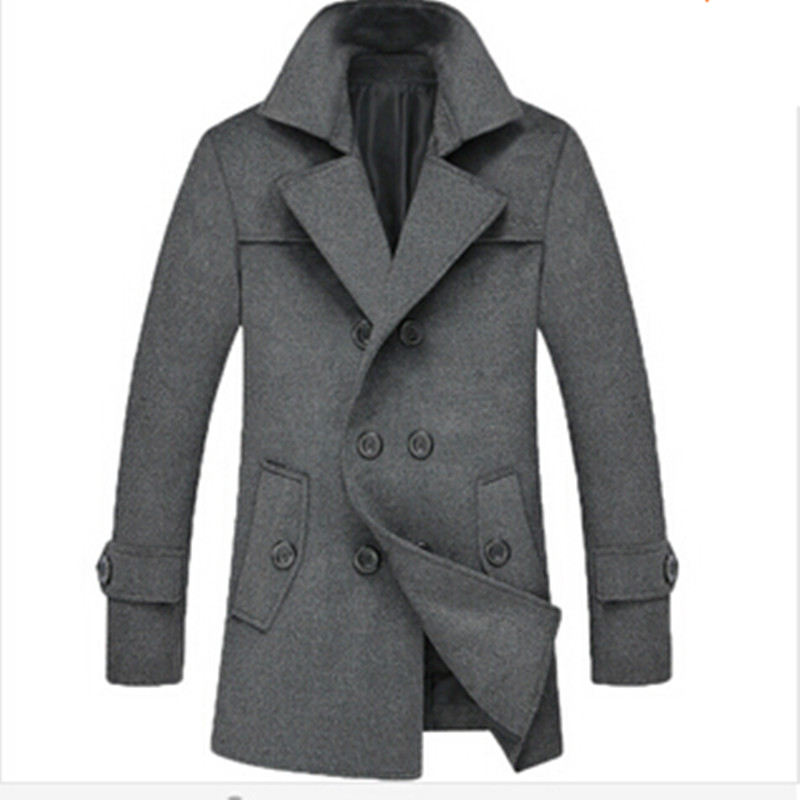 2015 Elegent Wool Classic Long Trench Men Coat Outdoor Big Size Male Overcoats Winter Jacket Plus Size M-4XLОдежда и ак�е��уары<br><br><br>Aliexpress