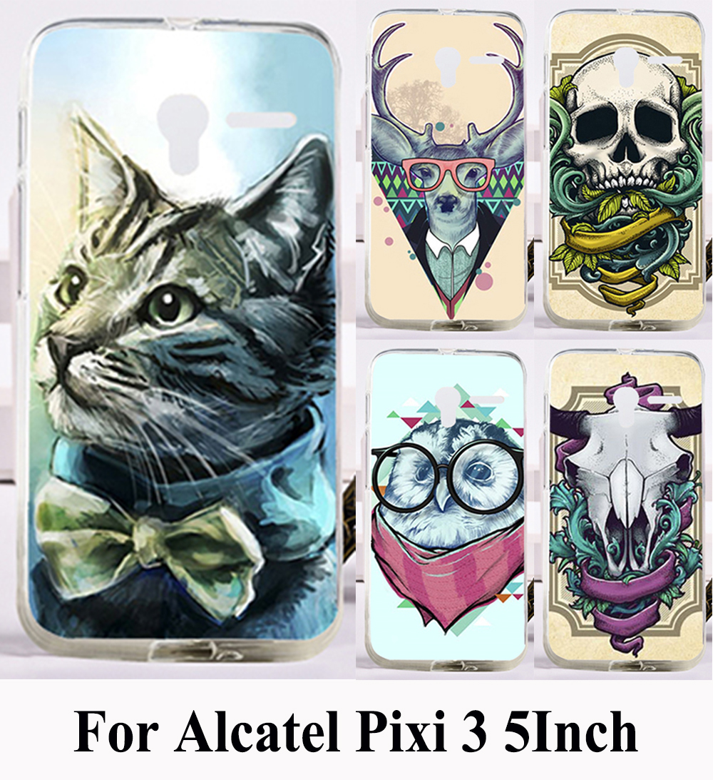 DIY Hard Printing Case for Alcatel Onetouch PIXI 3 5.0INCH OT 5015 5015A 5015D Cartoon Animal Phone Cover Protective Phone Case(China (Mainland))