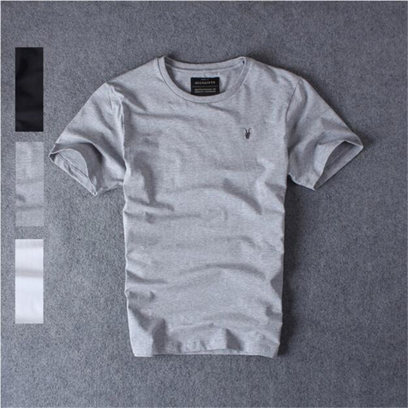 High quality 100% Men Cotton Short-Sleeve T-shirt all saints jemmied solid Color basic Spring and Summer water washed shirts(China (Mainland))