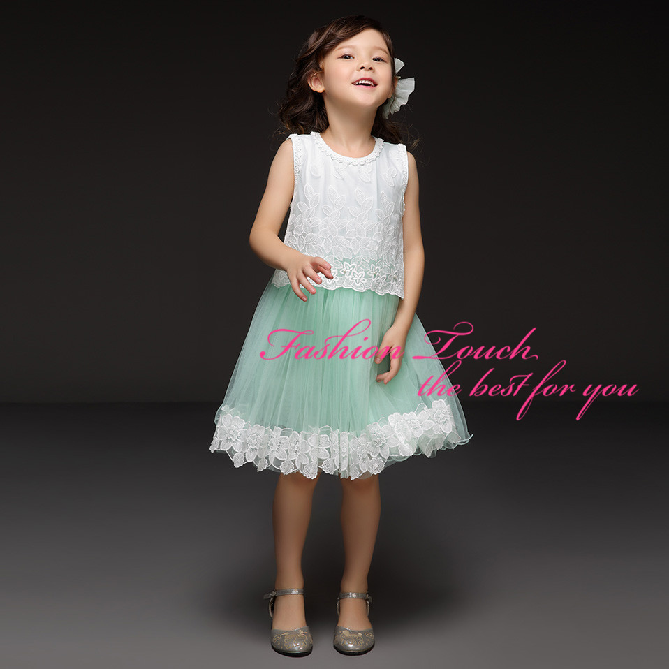 Style 2016 Girls Lace Dresses Flower Bodice Green Tulle Dress Summer Princess Kids Wear 5Sizes - Fashion Touch store