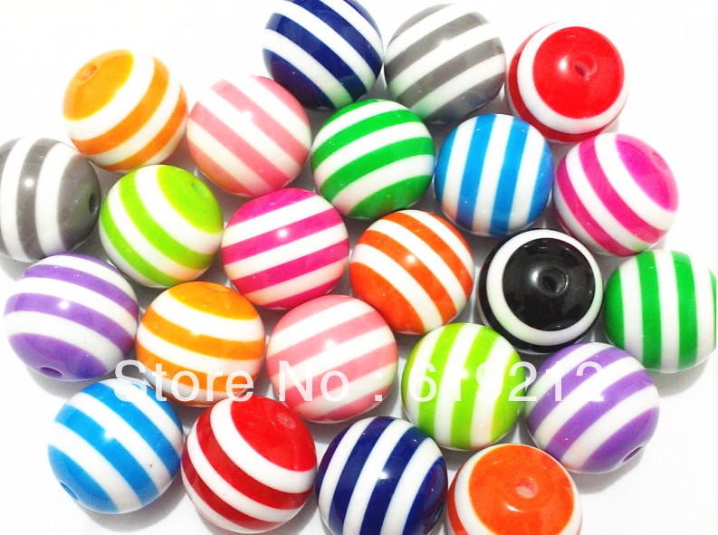 Hot sale!! 20mm 100pcs/lot Mix Color Resin Stripe Beads For Chunky Necklace Making(China (Mainland))