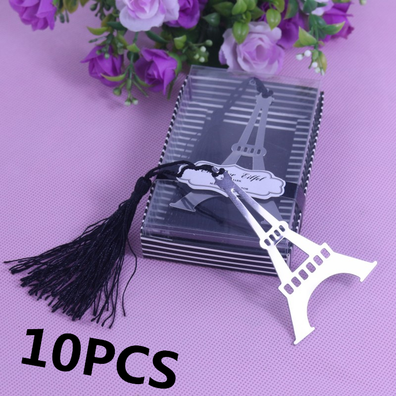 10PCS Bulk Eiffel Tower Bookmarks For Party Wedding Giveaway Favours Boy Girl Baby Shower Souvenirs Favors And Gifts For Guests(China (Mainland))