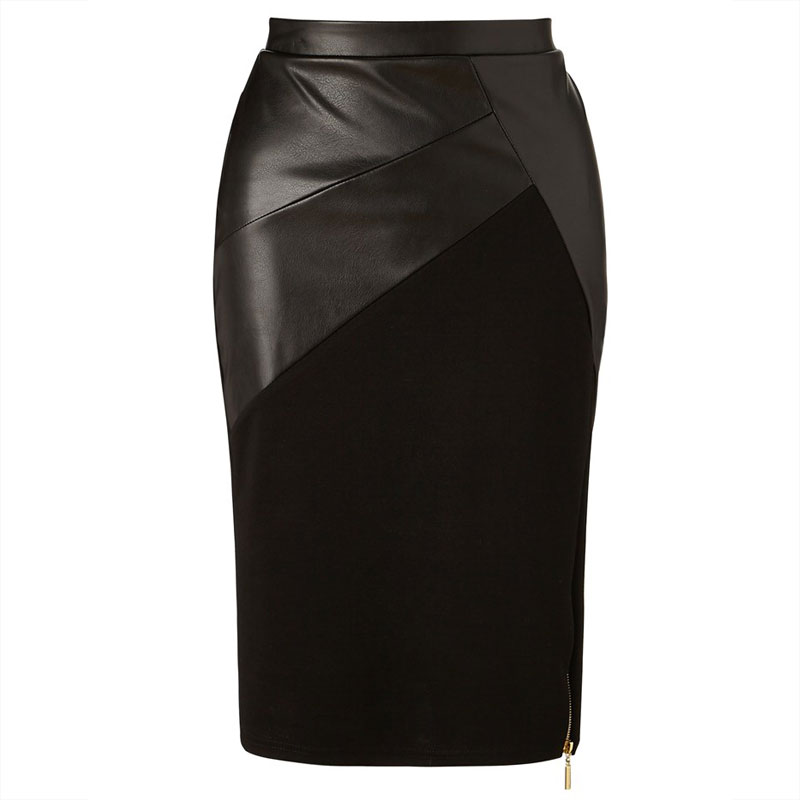 Falda tubo efecto cuero negra