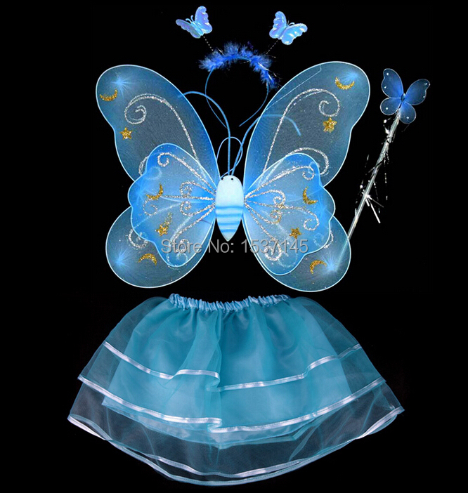 Free shipping Children Fairy wing angel wing party christmas 4 pieces set children dance costume(China (Mainland))