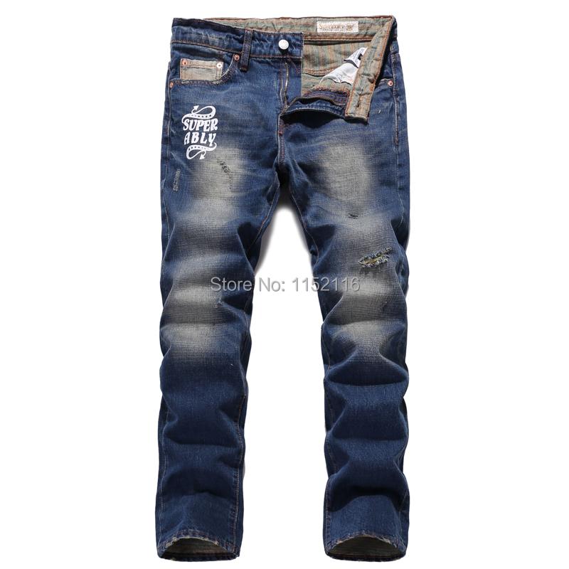 2015 new arrive true jeans men perfumes 100 original blue retro mens jens ripped pants fashion brand(China (Mainland))