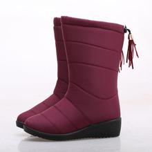 Botines Borla de invierno botas de Mujer Botas Impermeables Abajo botas para la Nieve Botas de Mujer Zapatos de Las Señoras de Piel Caliente Botas Mujer Elastic Band(China (Mainland))