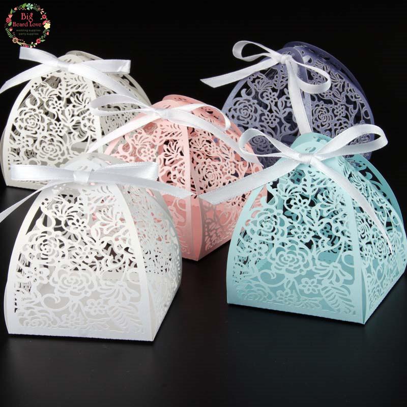 New 50pcslots Flower Wedding Favor Box Laser Cut Candy Box Gift Box