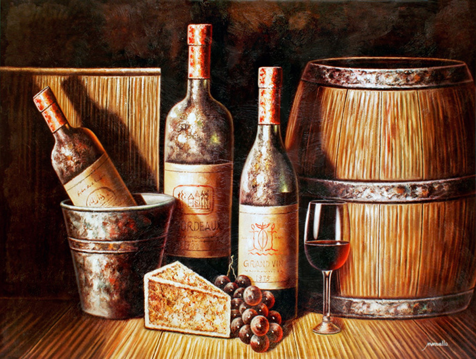 free shipping lot set red wine bottle oil painting still life wine cellar scenery canvas printings on canvas decoration picture(China (Mainland))