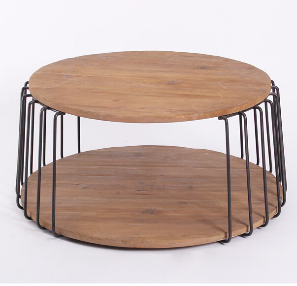 Do the old furniture wood double iron rack kitchen storage rack drum round table table creative edge(China (Mainland))
