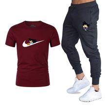Летние комплекты высокого качества Dragon Ball Z Goku футболка + брюки Мужская брендовая одежда костюм из двух предметов спортивный костюм модные п...(China)