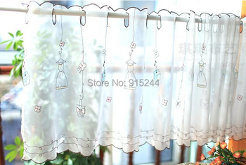 Free shipping Girl gift fresh finished products coffee kitchen curtain semi-shade small yarn white decoration curtains 0.45*1.5m