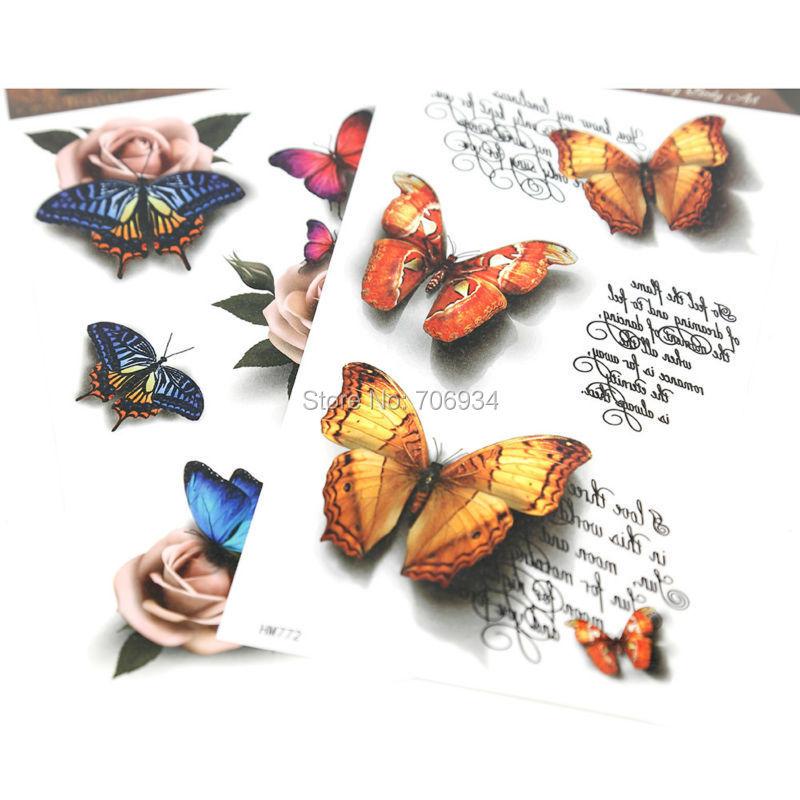 Temporary Tattoo Stickers Arm Flowers Tattoos 3D Sticker 10pcs New Body Waterproof 8*4 Inch HM(China (Mainland))