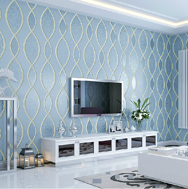 Modern thickened stereo 3d wallpaper relief striped blue for Best 3d wallpaper for bedroom