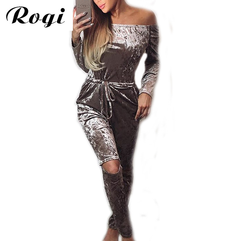 Rogi Sporting Rompers Womens Jumpsuit Sexy Slash Neck Long Sleeve Velvet Bodysuits Hollow Out Overalls Solid Combinaison Femme(China (Mainland))
