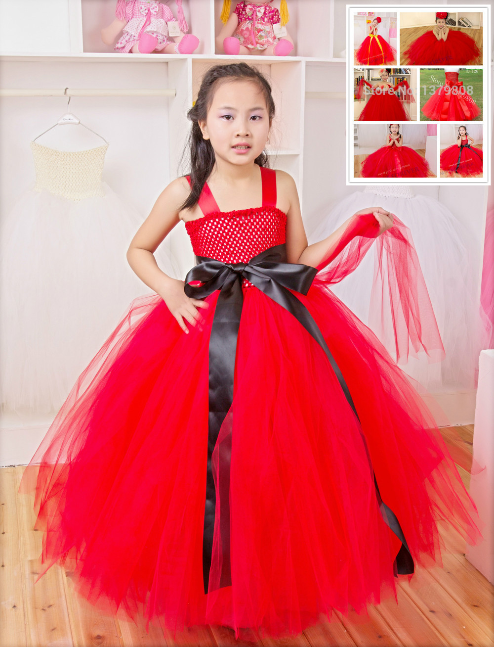 Free shipping 10pcs/lot Handmade red flower girl dress with liner,red tutu long dress for 2015 New Year party and Christmas Day<br><br>Aliexpress