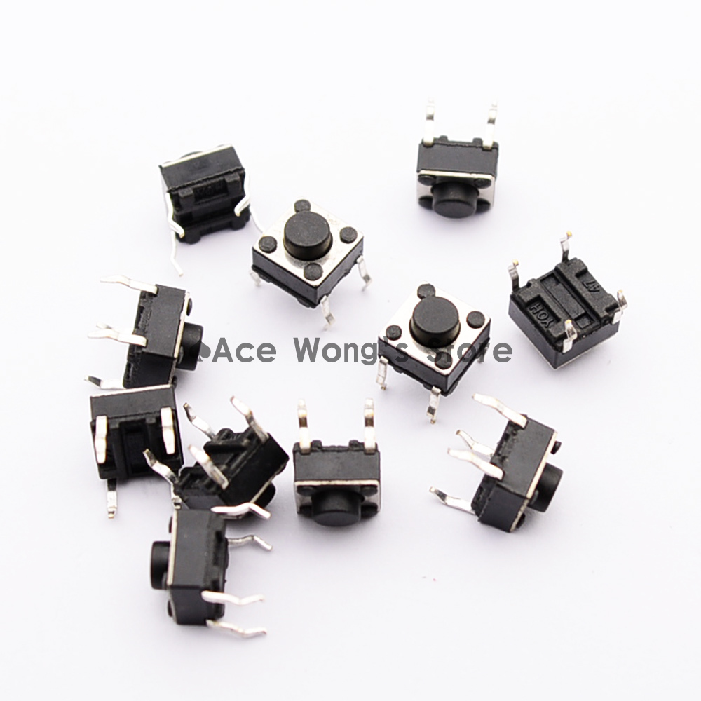 20pcs High Quality 6x6x5 Mm 4 Pins Tactile Push Button Switches Tact 5mm Free Shipping 100pcs Lot 6x6x55mm Switchsquare Knobstact Switch