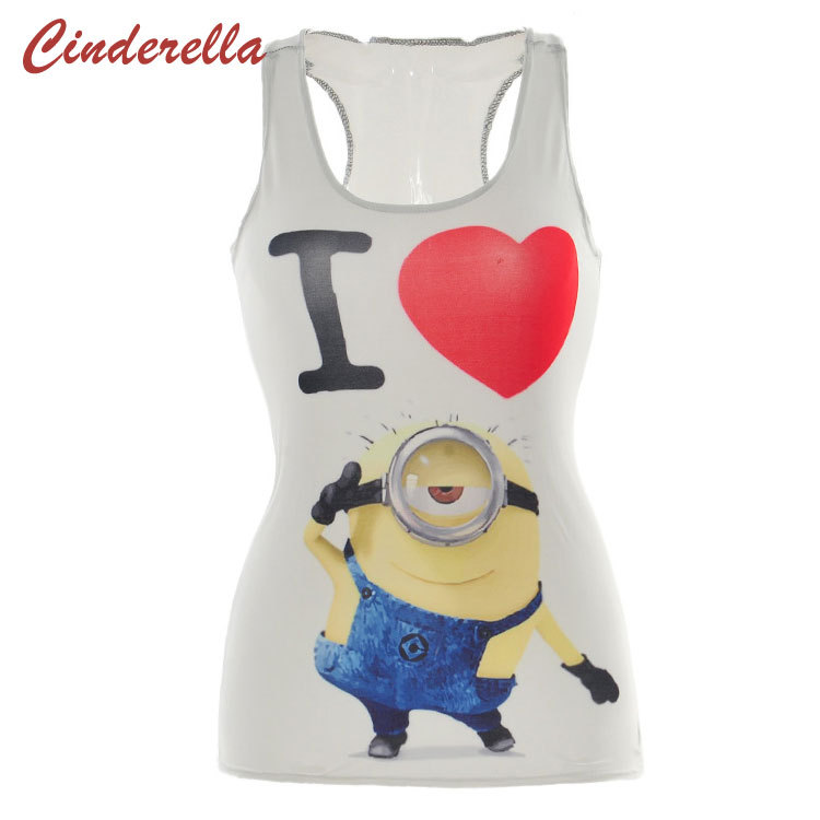 2015 Hot Sale Summer Despicable Me 3D Printer Tim the Sexy White T Shirt Minions Camisole
