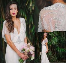 2017 Promotion Shining Sexy Bohemian V-neck Crystals&Beadings WhiteIvory Open Back Wedding Dress Beach Bridal Gown Custom Size(China (Mainland))