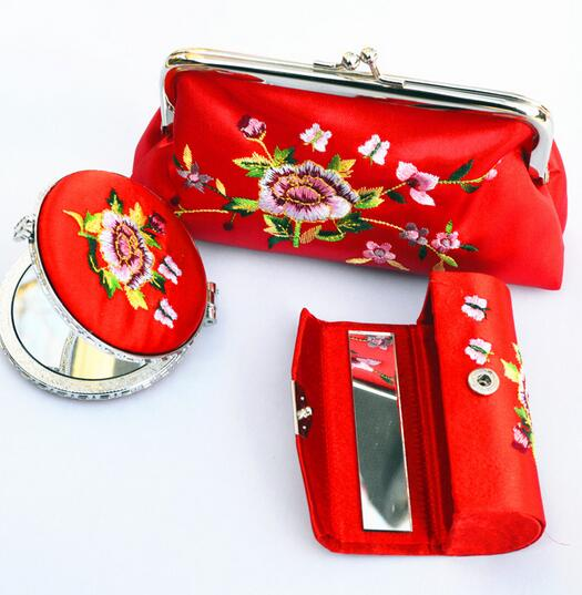 2016 Makeup Mirror Hand Held Portable vintage fashion cosmetic mirror Women Coin Purses Cheap Mini Coin Bags For Cute Women Bags(China (Mainland))