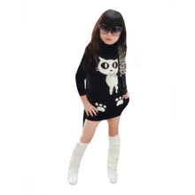 Kids Wool Turtleneck Sweaters With Pockets Animal Girls' Knitted Pullovers Camisola Das Meninas Sweater Dress For Children E266(China (Mainland))