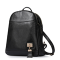 Trendy New Genuine Leather Lady Plain Backpack Fashion Contracted Black Daypack Women Top Layer Cowhide Schoolbag