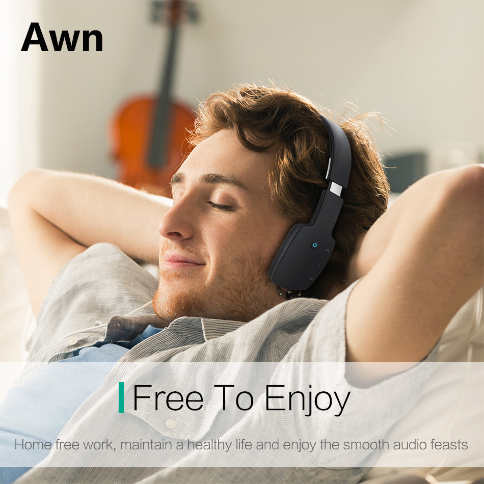 Awn  Wireless Bluetooth Headphones/headse twith Built-in Mic for iPad and Android Smartphones Earphone for iPhone Samsung
