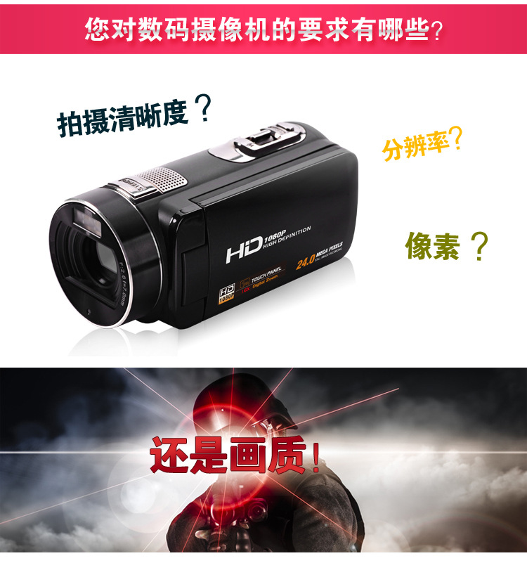 16x Digital Zoom Max. 24MP 1080P Full HD Digital Video Camera Camcorder with Digital Rotation LCD Touch Screen