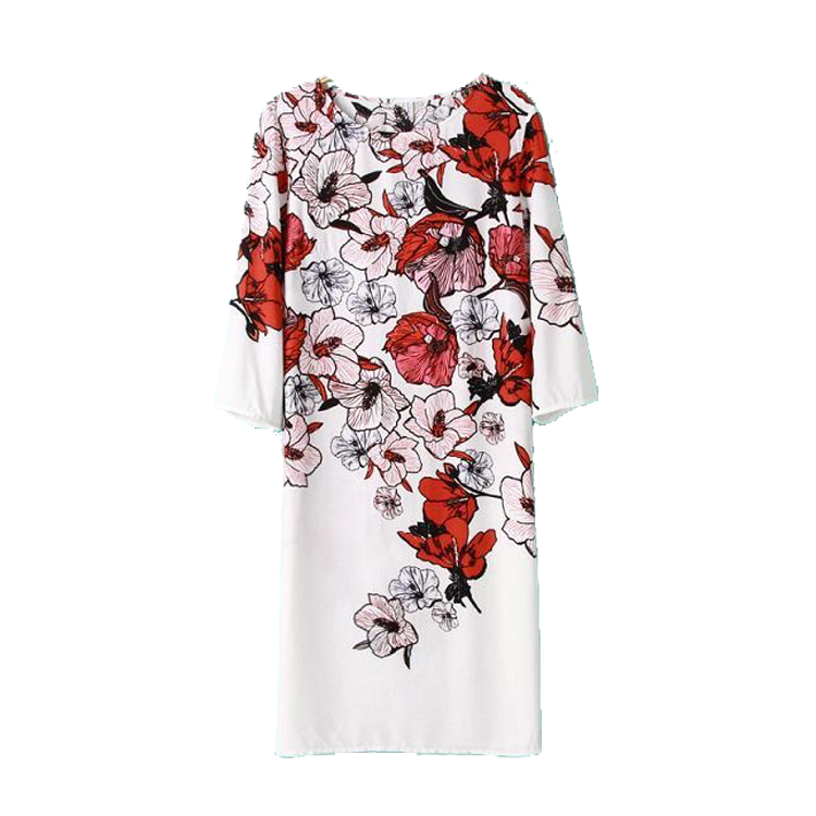 runway style celebrity love spring flowers floral printed three quarter sleeve dress white color(China (Mainland))