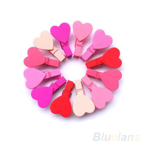 12Pc/BAG Mini Heart Love Wooden Clothes Photo Paper Peg Pin Clothespin Craft Clips 1GUM(China (Mainland))