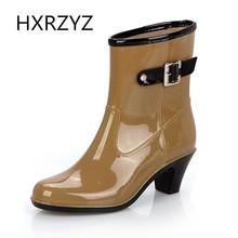 Spring Summer Women's Rain Boots Lady Waterproof Anti-skid High Heel Shoes Women Casual Single Boots Fashion Black Rain Boots(China (Mainland))