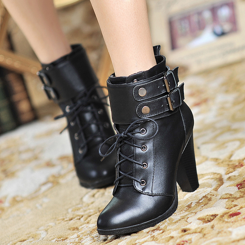 2015 Winter Autumn New Fashion Cross Straps Double Buckle Ankle boots Solid Colors Square Heels Ankle Shoes Size 35-39 R995<br><br>Aliexpress
