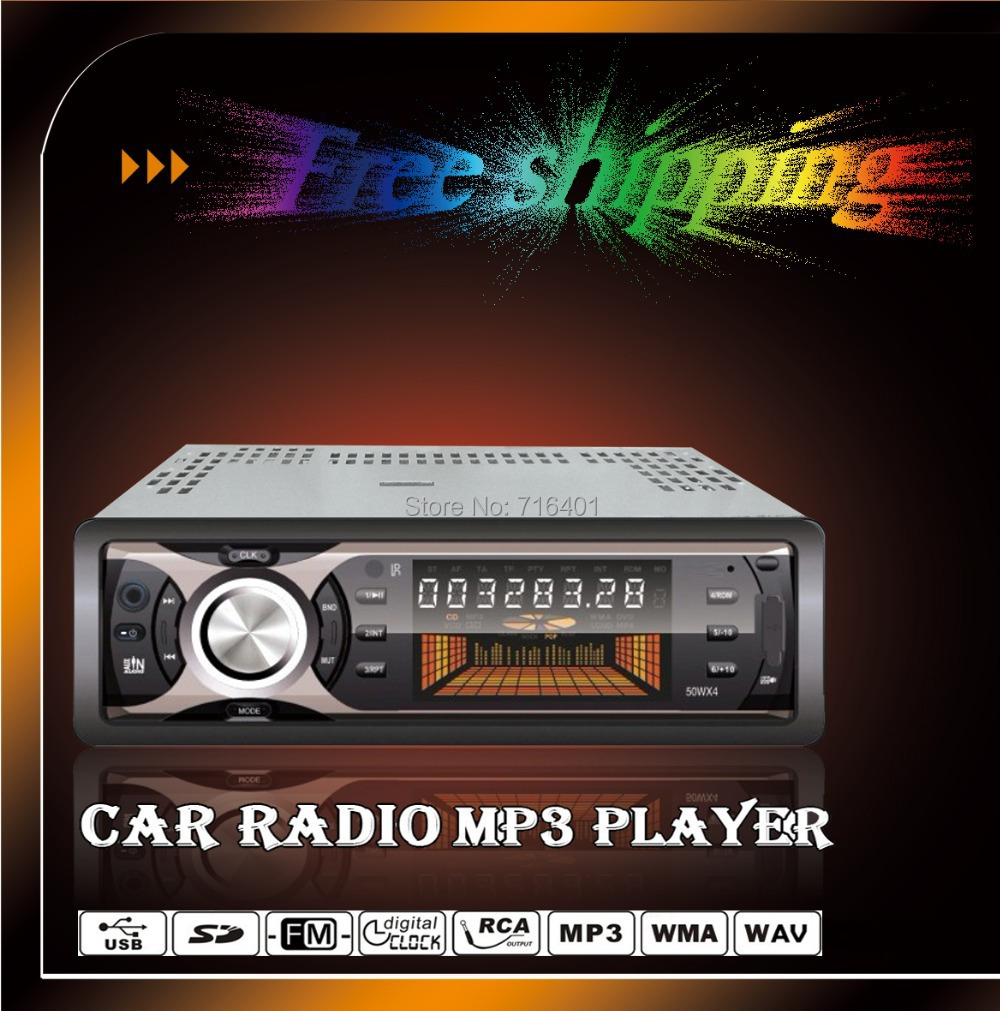 Free Shipping 12V Car MP3 Player 1 Din LCD Displayer Car Player Cheap Car MP3 With SD/MMC card Slot, with USB port 3.5 mm Aux in(China (Mainland))