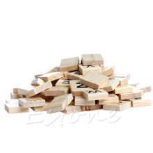 100 Wooden Alphabet Scrabble Tiles Black Letters & Numbers For Crafts Wood New(China (Mainland))