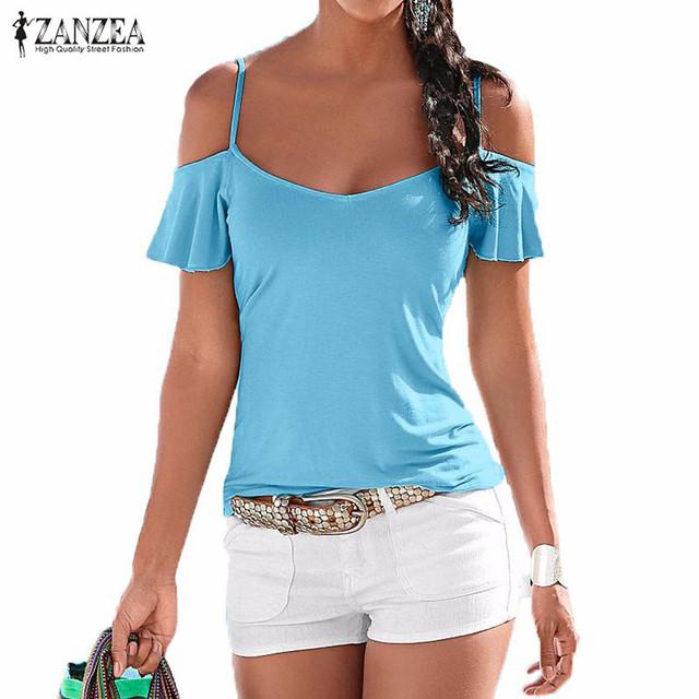 Новый Летний Blusas 2016 Мода T Shirt Женщины Повседневная Стретч Тройники Sexy V Шеи С Коротким Рукавом С Плеча Твердые футболка