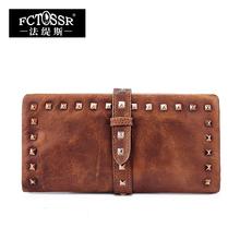 2016 vintage long design wallet personality rivet genuine leather wallet women's drawstring wallet female