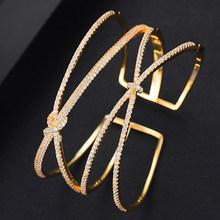 GODK bijoux Collection luxe cubique Zircon boucle d'oreille bracelet anneaux à la mode filles femmes Patry mariage bijoux ensembles(China)